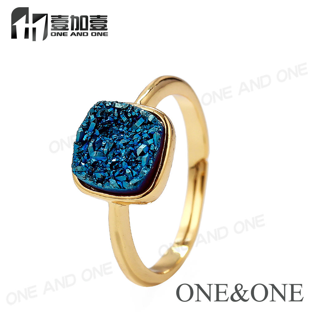 2018 Fashion Jewelry Gemstone Druzy Adjustable Rings Natural Agate Drusy Ring 18K Gold Plated