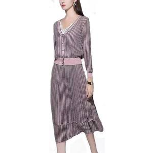 High Quality A Line Woolen Gold/ Silver Metallic Thread Shiny Suit Lady 2pc casual Dresses ribbed sweater dress