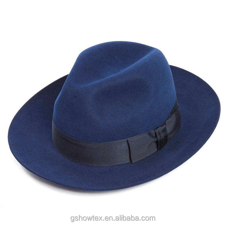 Hot sell 100% wool felt fedora hats wholesale women with black bowknot