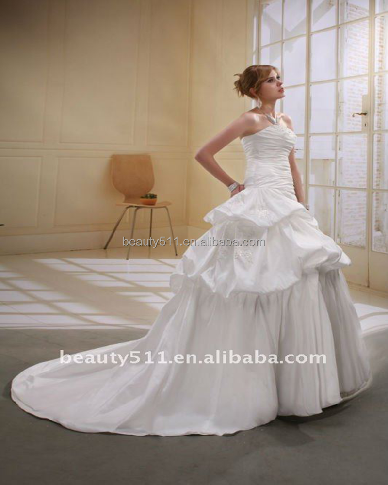Astergarden Fashionable Taffeta Strapless A-line Beaded Wedding Bridal Dress AS013