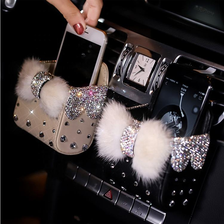 Diamond Crystal Bowknot Portable Car Storage Box Bag Mink fur Auto Vent Mount Holder Mobile Phone Bag