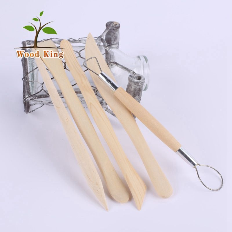 High Quality 5 Pieces Wooden Clay Ceramic Knife Sculpture Polymer Sculpting Pottery Clay Tools