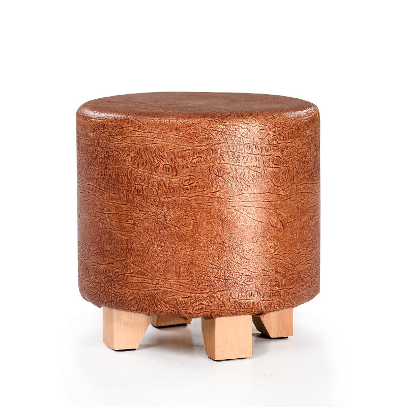 Hot selling high quality solid wood leather round stool in indoor