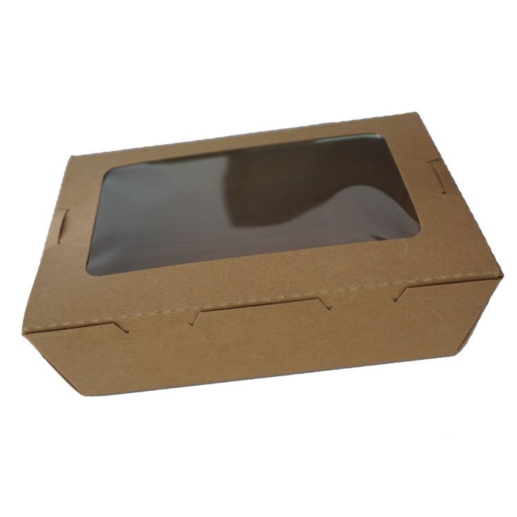 Disposable Biodegradable Kraft Food Paper Packaging Sushi Box with Anti-Fog Window food packaging container
