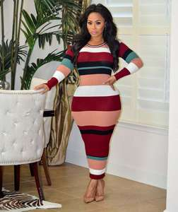 Colorful Striped Chevron Merajut Sweater Kasual Maxi Dress