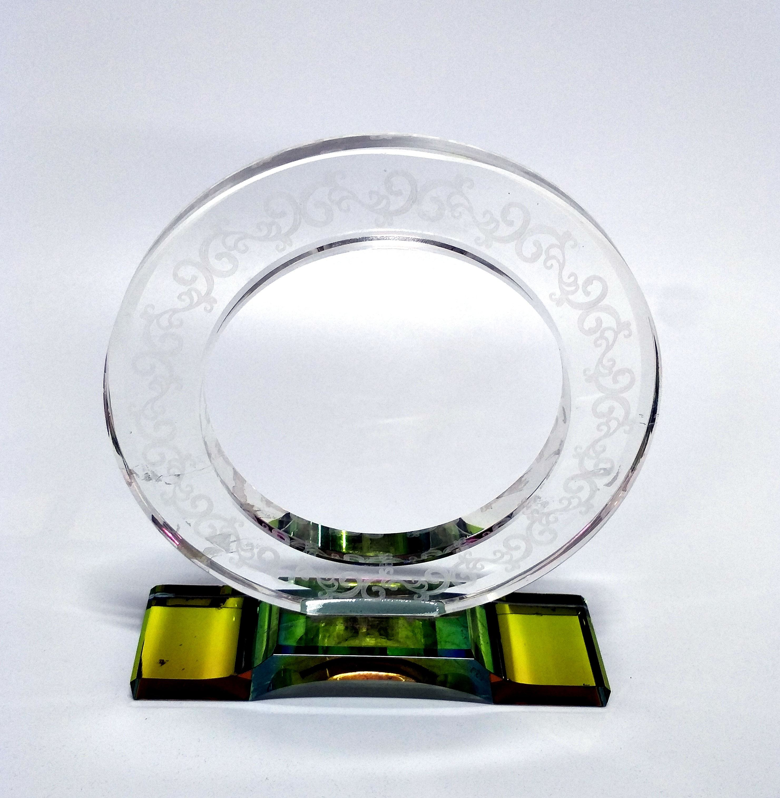 Round Ring colorful base K9K5 Crystal glass trophy award with sandblasting decorative pattern figured glass