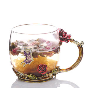 Wholesale Gift Enamel Glass Rose Tea Coffee Enamel Glass Cups With Handle