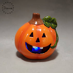 Wholesale colorful Led light ceramic halloween pumpkin for decor