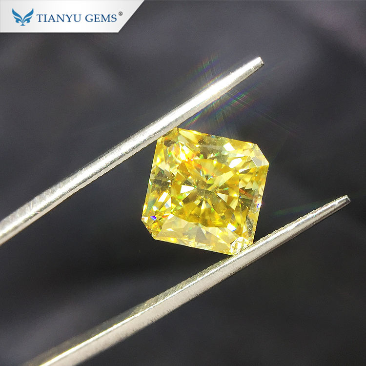 Tianyu gems Square modified crushed ice original Fancy yellow moissanite for jewelry accessories