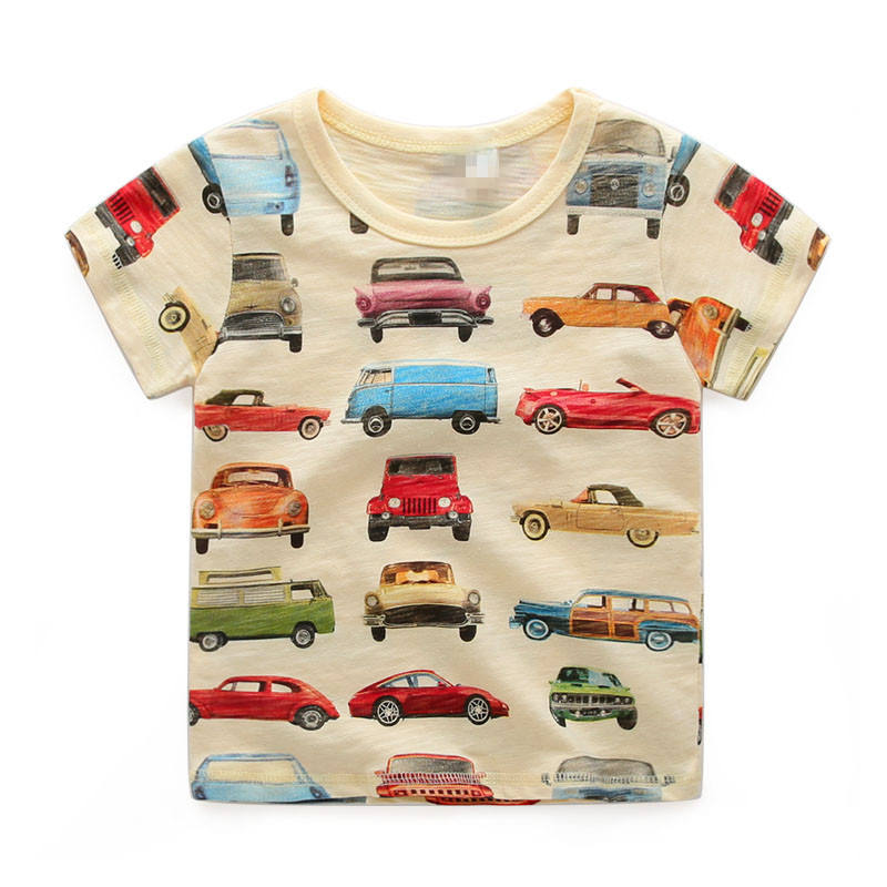 Organic Cotton Wholesale Baby Boys Cars Printing Round Neck T-shirt