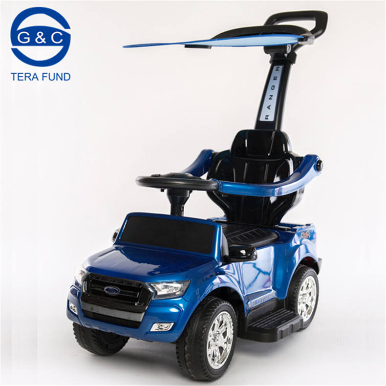 Ford Range License Ride On Push Car Toy 3 in 1 Gliding Scooter with Sound & Light&Removable Canopy