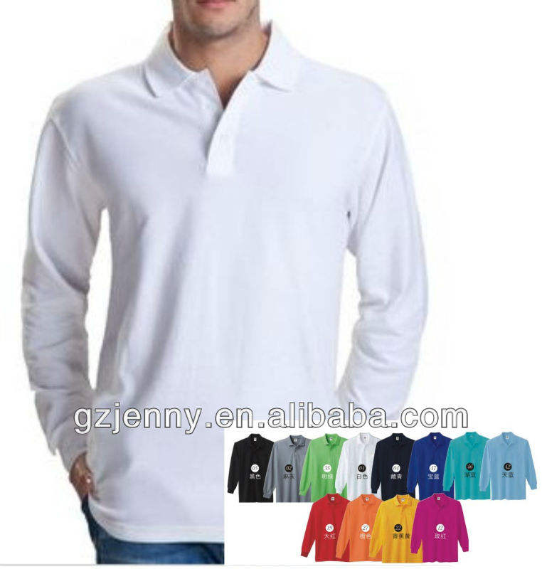 Cheap blank long sleeve polo t shirt for men