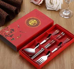 Wedding Favors Red Theme Box Design Chopsticks Spoon and Fork
