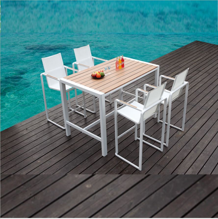 Waterproof High Stand Anti-rust Outdoor Pub Bistro 6 Seaters Aluminum Bar Set garden furniture bar table and chair in the hotel