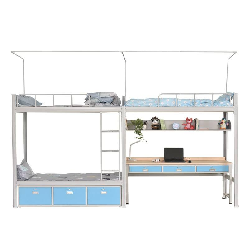 factory supply new design College loft three students dormitory steel bunk bed with lockers