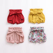 Baby girl bubble shorts with bow waist plain cotton infant bloomers