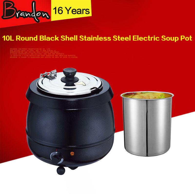 10L черный из нержавеющей стали, Электрический горшок супа/<span class=keywords><strong>большой</strong></span> Сейф суп/суп теплее
