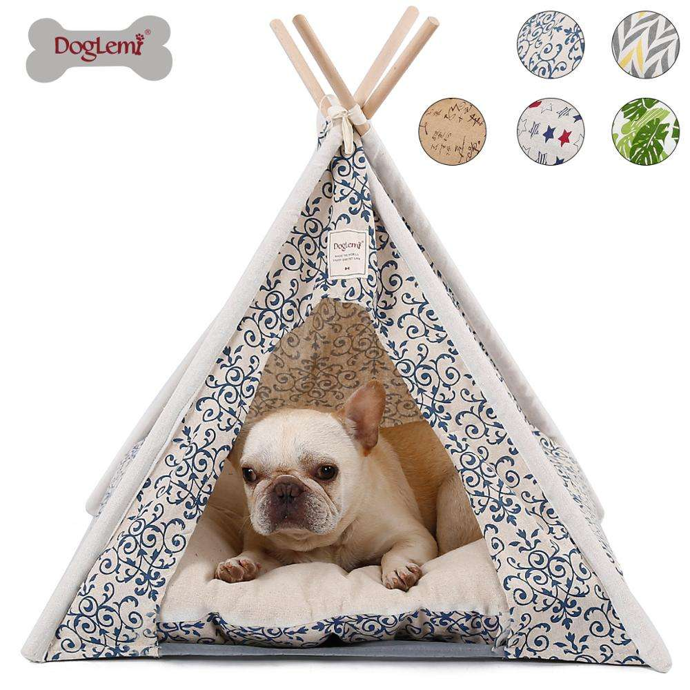 Pet Teepee Tent Foldable Wood Linen Cave Bed Dog Cat Tipi House Indian Tents