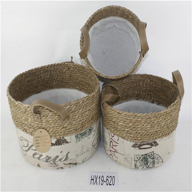Belly Plant Handles Woven Planter Basket for for Storage, Laundry, Picnic, and Beach Bag Plus White