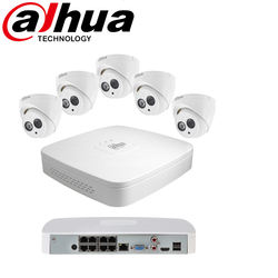 DH 8 Channel 8PoE 4108-8P-4KS2+HDW4433C-Ax4  H.265 4MP Built-in MIC Home CCTV Security System