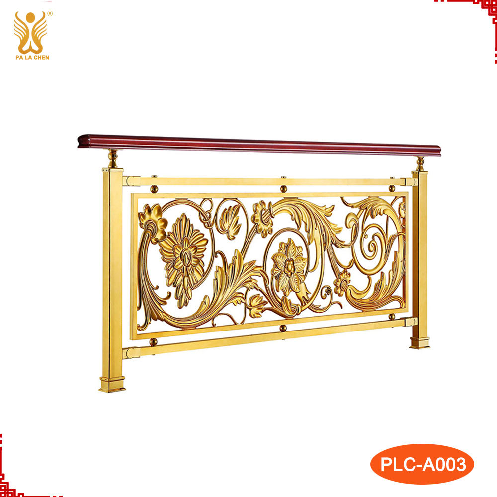 Golden modern indoor decorative aluminum baluster railing.