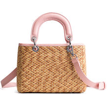 fashionable woven hand made lady's shoulder bag handbag beach straw bags with leather handle