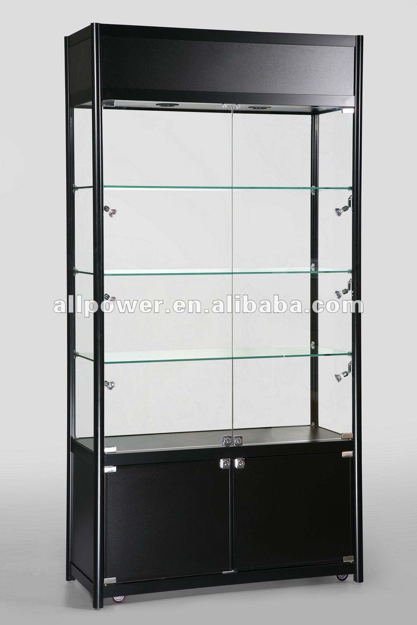 Black gloss MDF, display glass cabinet (SWC1000TC)