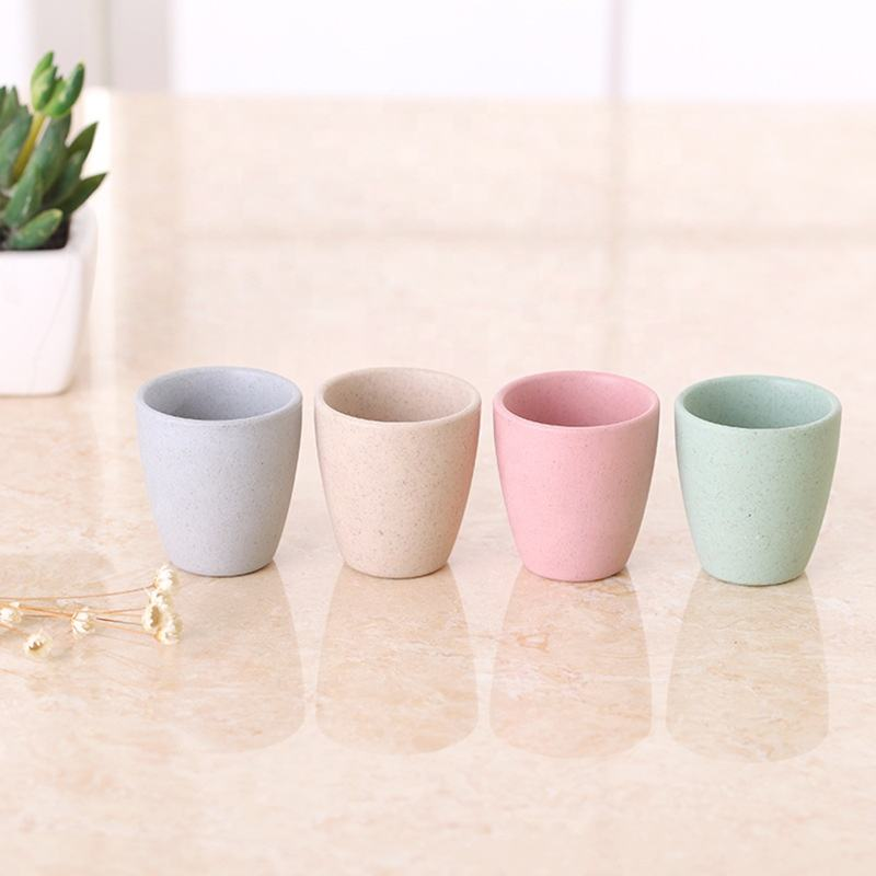 Nature Bamboo Fiber Reusable Degradable Eco Friendly Disposable Food Safety Milk Wine Coffee Tea Drinking Cup Set of Type H