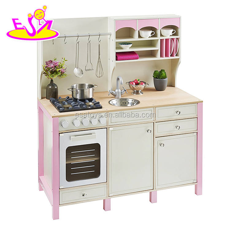 New design luxurious girls pretend play toys wooden pink toy kitchen W10C281