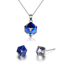 Hot selling 925 pure silver pendant necklace stud earring square Austrian crystal jewelry set