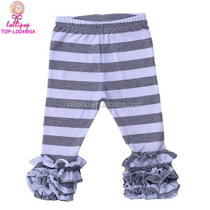 Wholesale Ruffle Pant Grey & White Stripes legging baby sew sassy pant stretch children Ankle Length Legging cotton icing Pants