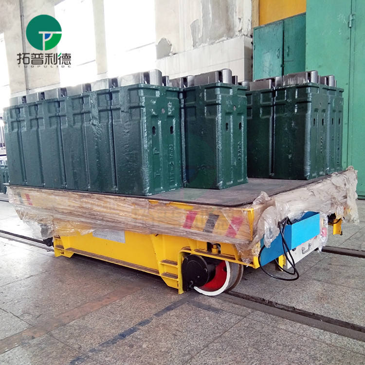 Machinery works electric flatbed cart assembly line rail transfer trolley