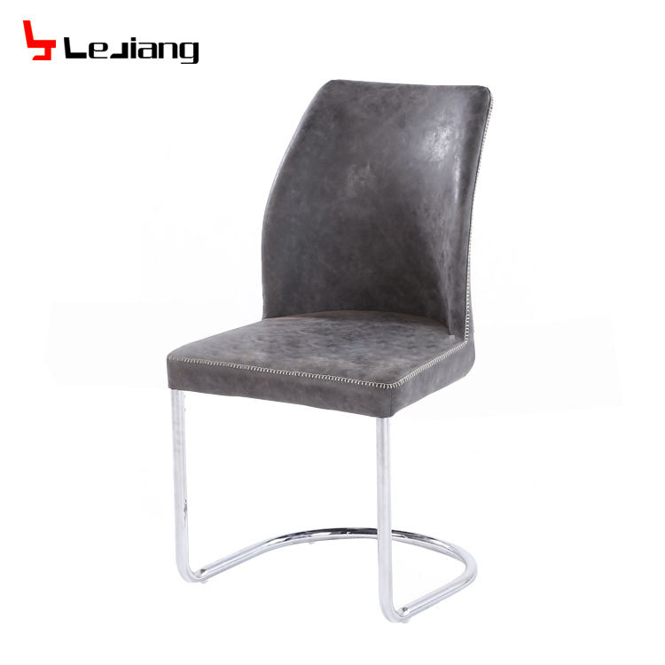 Free Sample Leather Black Brown Grey High Back White Zigzag Pu Dining Chair