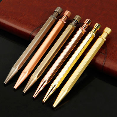 New tide brass polygonal press ball pen pengaton copper click ball point pen matte/chrome hexagonal pen