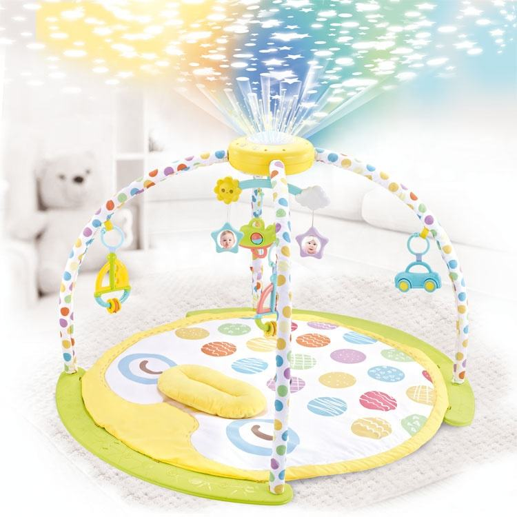 activity music soft round mat baby play gym with projector and mobile rattle toy