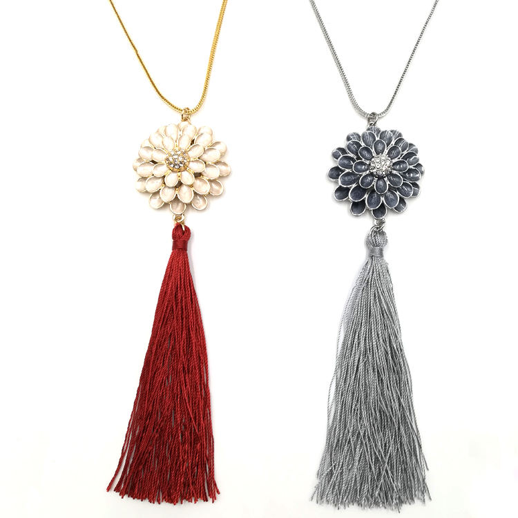 Youthway fashion womens 긴 chain 금 plated red 실크 술 necklace 펄 enamel 아연 합금 꽃 펜 던 트 necklace