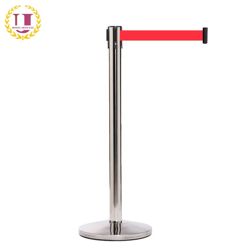 Polished Stainless Steel Retractable Belt Barrier Stand with Red Cassette Belt