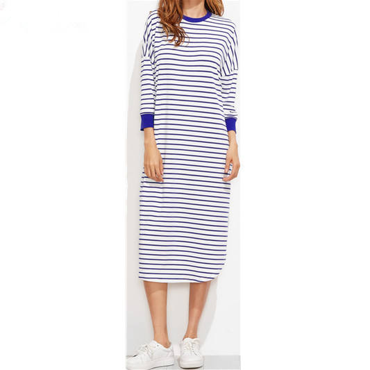 cheap china Striped Drop Shoulder Straight tshirt Dresses wholesale women clothing