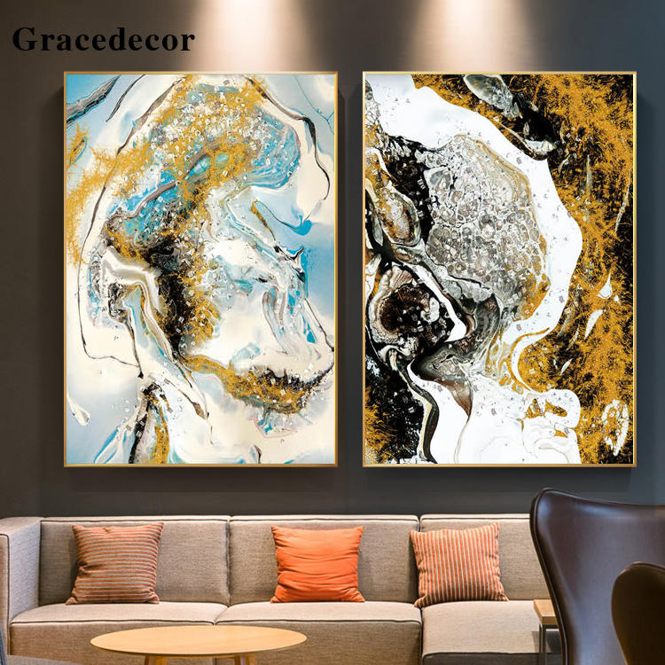 Unique Large Size Alloy Framed Abstract Resin Art Painting Fine Art Wall Decor