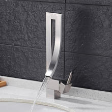 WANFAN Unique Decorative Lavatory Vanity Vessel Faucet, Brushed Nickel Brass Waterfall Best Sell Mixer Tap  9060SN