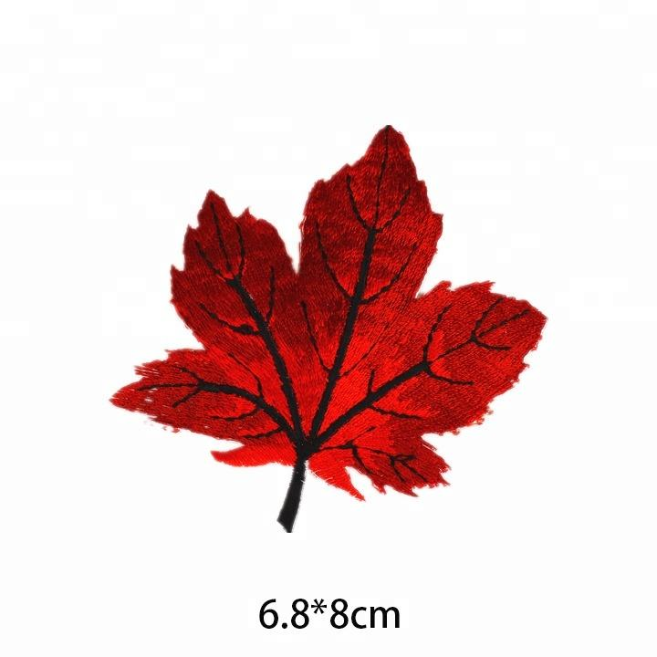 jeans hat bag applique craft custom maple leaf iron on woven label embroidery patches
