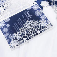 Hot Sale Unique Silver Glitter Laser Cut Snow Pattern Christmas Wedding Invitation Card