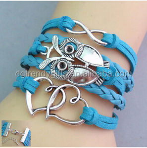 Fashion Sky Blue Men Hand Made Braided Leather OWL Bracelet With Silver Infinity Charm