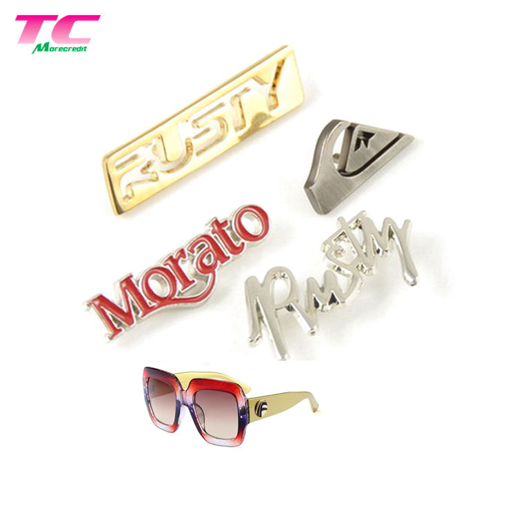 Custom Brand Metal Logo Badge Metal Tag Logo Emblem Plate Label For Sunglasses Purse Handbags