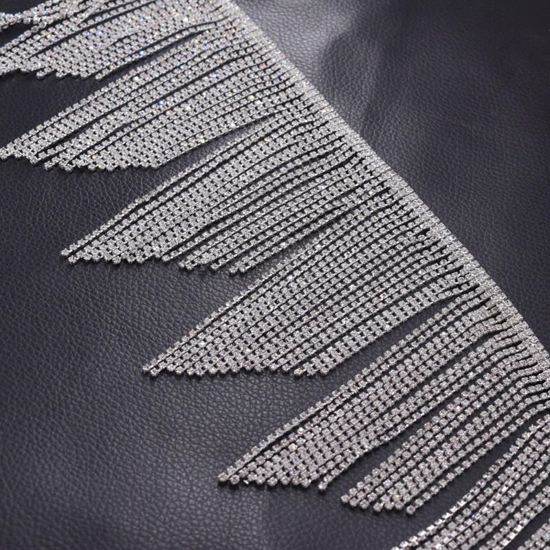 fringe trimmings 11cm tassel length crystal rhinestones appliques for wedding dress clothings sew on patches