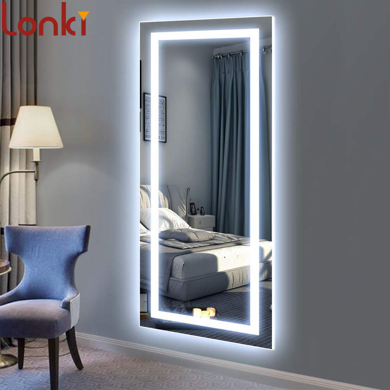 Large LED Full Length Backlit Mirror Oversized Rectangle Dressing Mirror with cooper-free glass CE/SAA certification