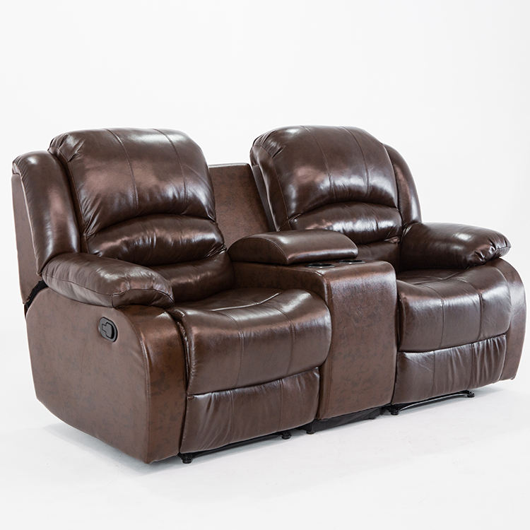 Double Reclining Living Room Leather Full Grain Electric Sectional Set Kd Nitaly 2 Seater Couple Recliner Sofa Cinema Furniture