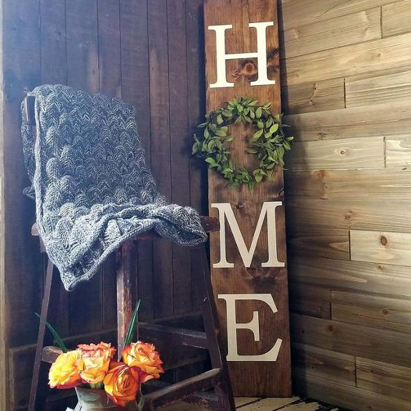 Home decoration walls billboards Wooden sign Home sign with wreath entryway or porch decor