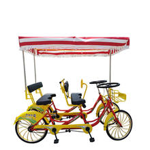 Family Fun Touring Pedal 4 wheel Bicycles 4 Person Surrey Bike/Quadricycle/4 Person Tandem Bike for rental