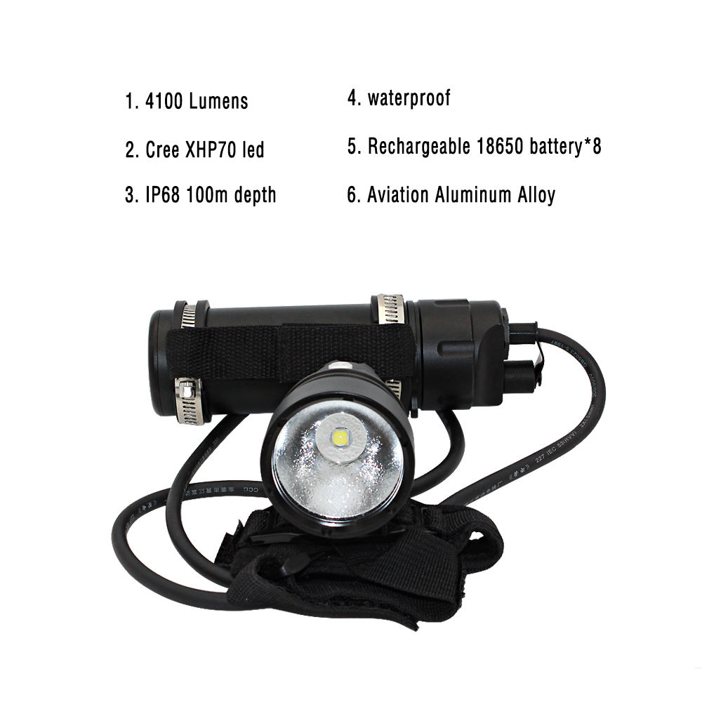 KC api tabung led diving underwater torch senter dengan <span class=keywords><strong>cree</strong></span> XHP70 led